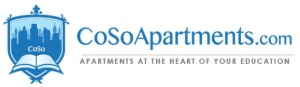 CoSo Apartments logo and tagline.