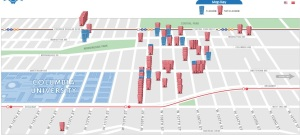 "A screenshot from the CoSo Apartments website shows the buildings with available rental units, in blue. Buildings with all rent-stabilized tenants currently occupying the units are shown as ""no availability at this time."""